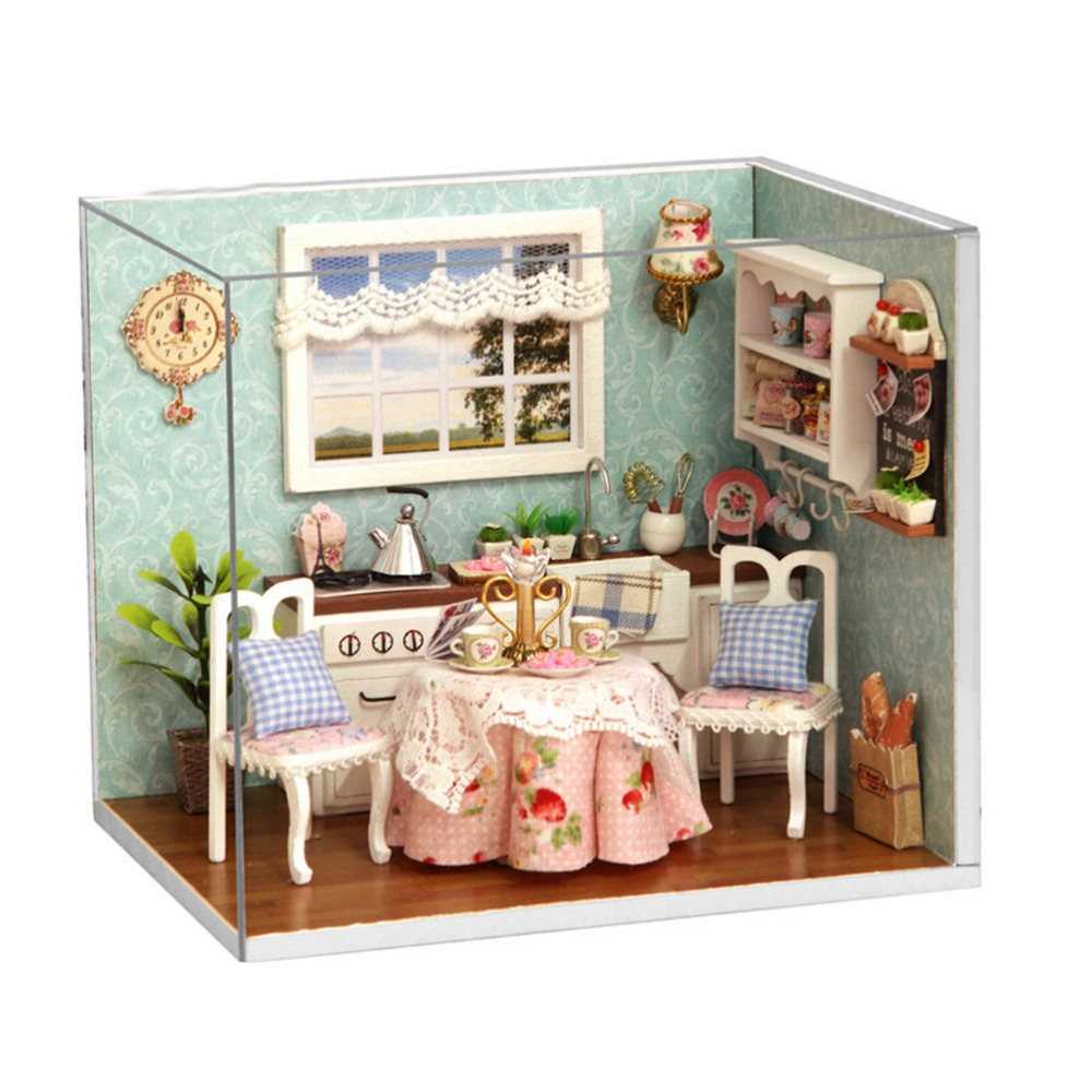 Mini Kitchen Room Box: DIY Wooden Doll House Toys Dollhouse Miniature Box Kit