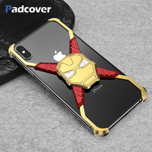 PADCOVER Iron Man Deluxe Metal Case for iPhone X XS Max Personality Bumper Shell Shockproof Drop Phone