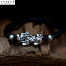 Handmade 999 Silver Pixiu Bracelet Pure Silver Fengshui Wealth Pixiu Bracelet Good Luck Bracelet handmade 999 silver dragon bracelet pure silver power dragon beads bracelet good luck bracelet