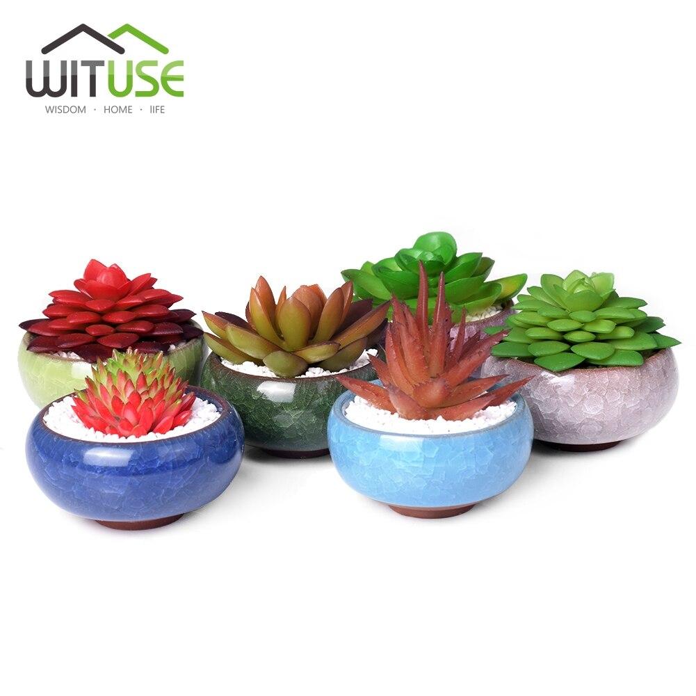 WITUSE 6 Colors Bonsai Pots Ceramic Planter Flower Pot Glazed Mini Flowerpot Garden Ceramica De Fleur Plant Pot For Home Office-in Flower Pots & Planters from Home & Garden
