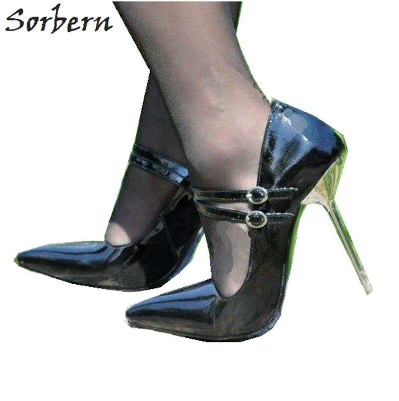 Sorbern 12 см Металл туфли на высоком каблуке, Высокий каблук Насосы для женщин Мэри Джейн обувь женские туфли на высоком каблуке для ночного клу