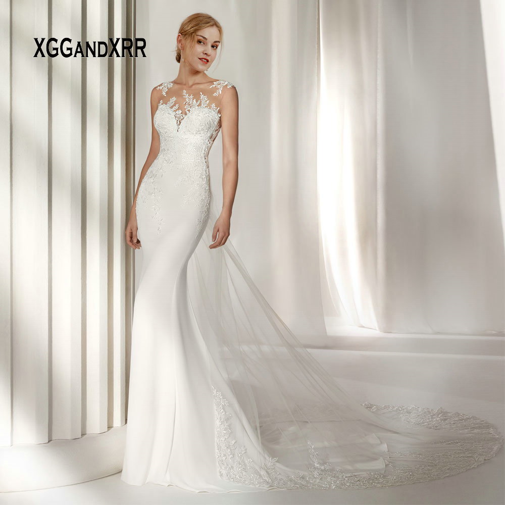 Sexy Mermaid Wedding Dresses 2019 Bridal Gown Fish Tail Lace Applique Long Bride Dress Illusion Back