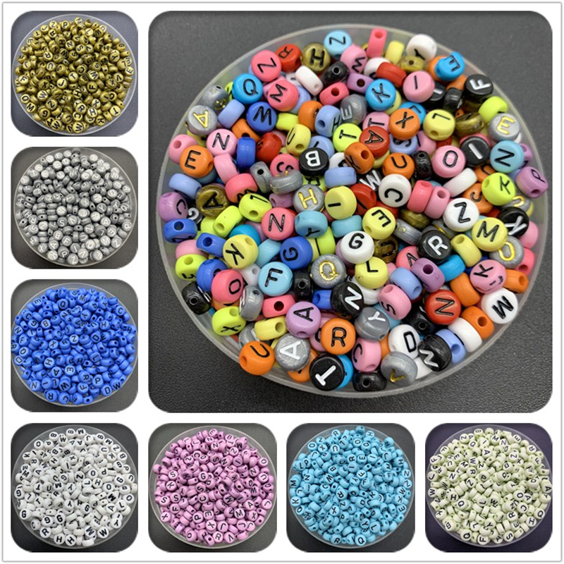 Jewelry Making Accessories DIY  Round Letter Spacer Alphabet Beads Acrylic