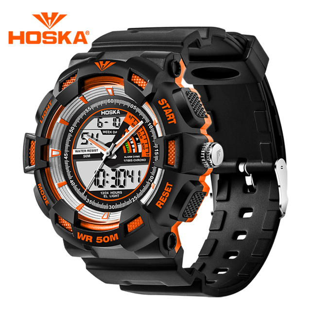 2016 Newest HOSKA Digital Analog Dual Display Watch For Children Kids Fashion Waterproof Calendar Luminous Sports Wristwatch