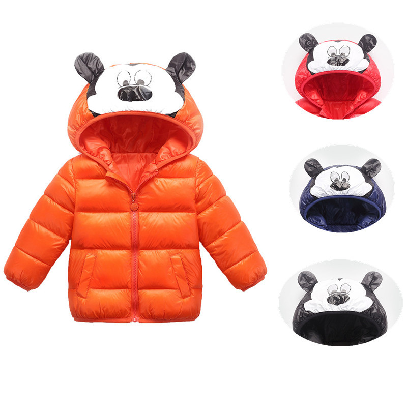 Angeltree Winter Boys Girls Down Jackets For Children Hooded Cute Mickey Clothes Kids Coats Baby Clothes Outerwear Clothing 1-7Y ins spring kids jacket pu leather girls jackets clothes children outwear for baby girls boys clothing coats costume winter 1 7y