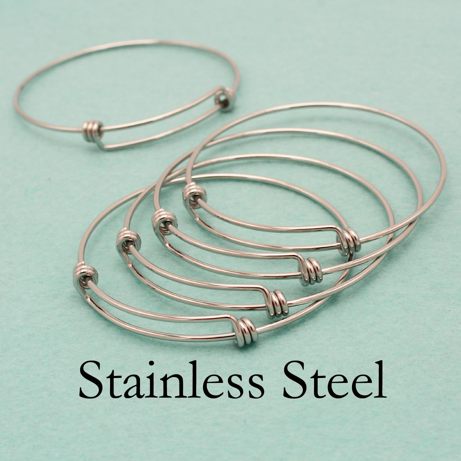 50 pcs Stainless Steel Bracelet Bangle Adjustable Bracelet Blank Charm Bangle Charm Bracelet Stainless Steel Charm