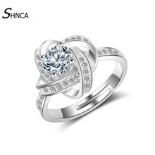 Classic Engagement Wedding Rings Jewelry Luxurious 925 Sterling Silver Big Zircon Charm Open Rings For Women