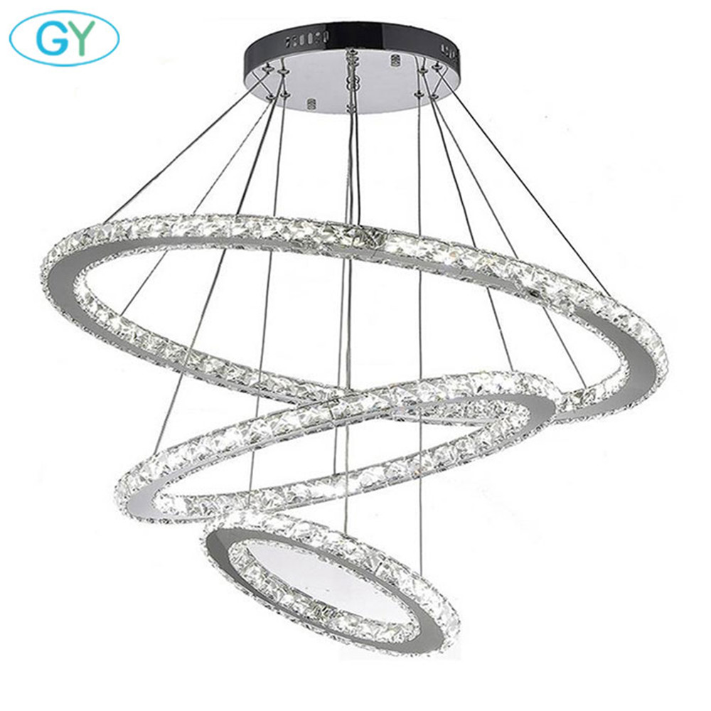 Modern LED Chandelier Light Fixture led Crystal Ring Lamp Circle Hanging Light Lustres Lighting LED Luminaire pendente GY Luz silver crystal ring led chandelier crystal lamp light lighting fixture modern led circle light used for ceiling or wall 20cm