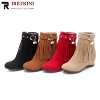 RIBETRINI New Sweet Shoes Women Boots 33 43 Thick Fur Addable Fringe Increased Heels Ankle Boots Female Autumn Winter