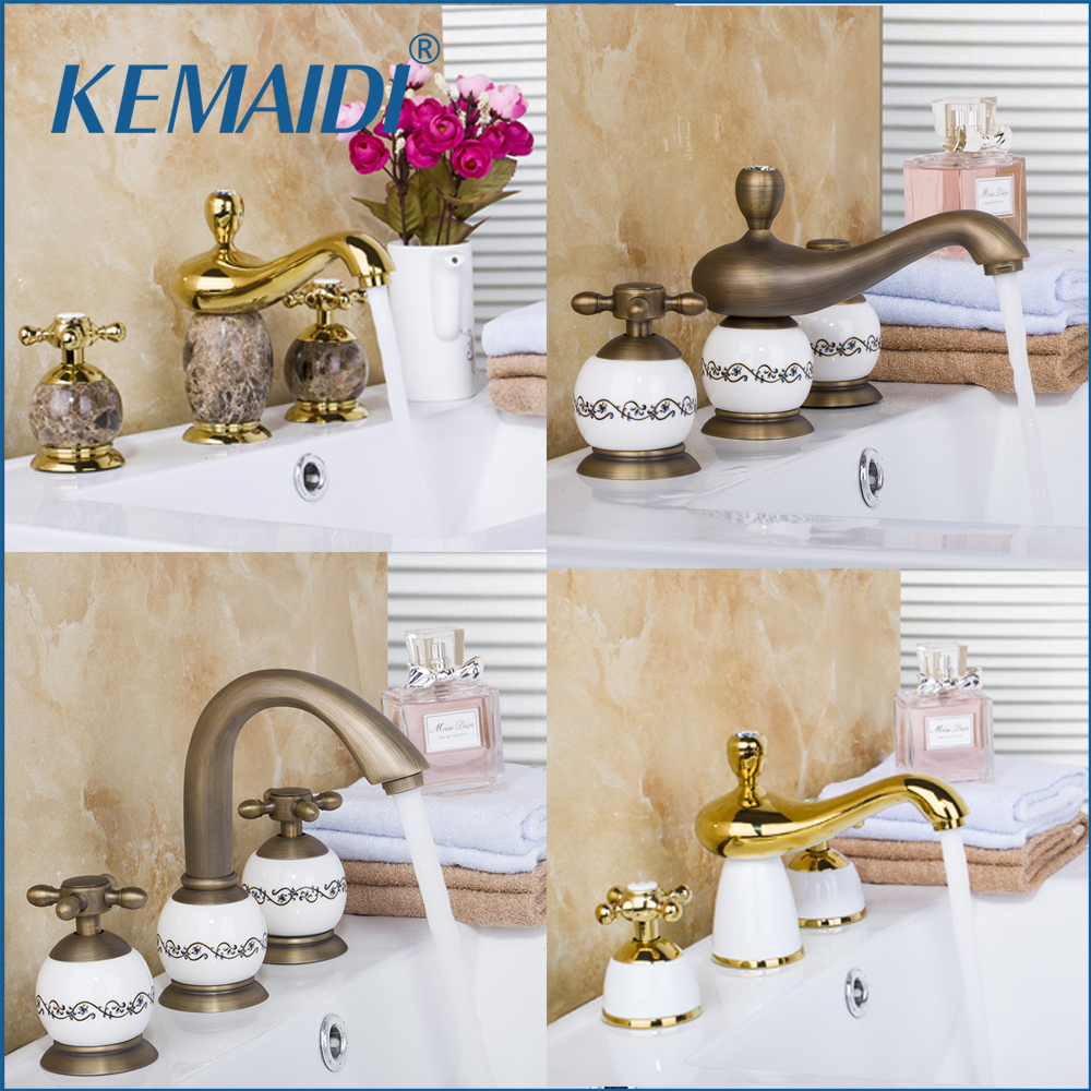 KEMAIDI 3 pcs Antique Brass&Gold Ceramic&Marble Deck Mounted Bathroom Mixer Bath Basin Sink Vanity Faucet Water Tap Bath Faucets p b
