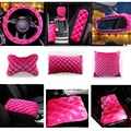Pink Rhinestones Covered Fashion Plush Products Women  Luxury Car Accessories Seat Covers Four Season Universal fit Car-styling