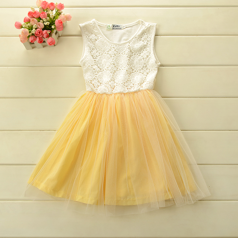 100% cotton Korean style baby girl dress sleeveless with lace tutu Summer for 2-6 Y