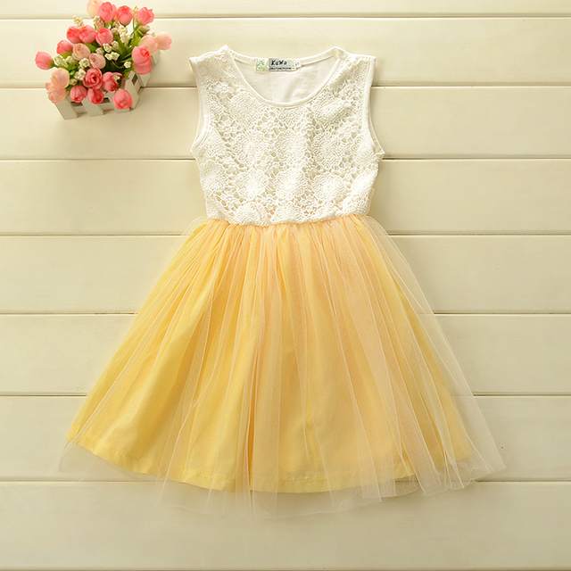 New 100% cotton Korean style baby girl dress sleeveless with lace tutu Summer dress for 2-6 Y free shipping