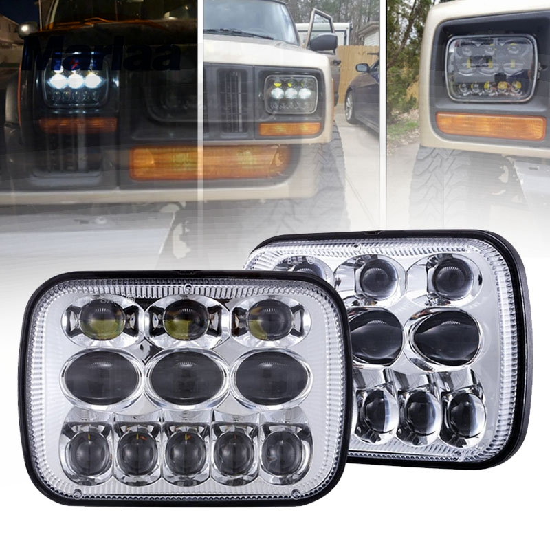 Marlaa 1 Pair 5x7 Led Headlight H4 Headlamp For Jeep Wrangler YJ Cherokee XJ Trucks H6054 H5054 H6054LL 69822 6052 6053 (2pcs) marlaa 7x 6 5 x 7 inch black projector led headlights for jeep wrangler yj cherokee xj h6054 h5054 h6054ll 69822 6052 6053