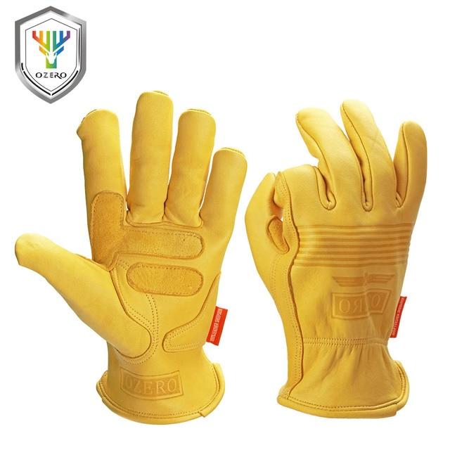 Ozero男性の作業手袋革セキュリティ保護安全切断作業修理工ガレージモトレーシンググローブ用男性0009