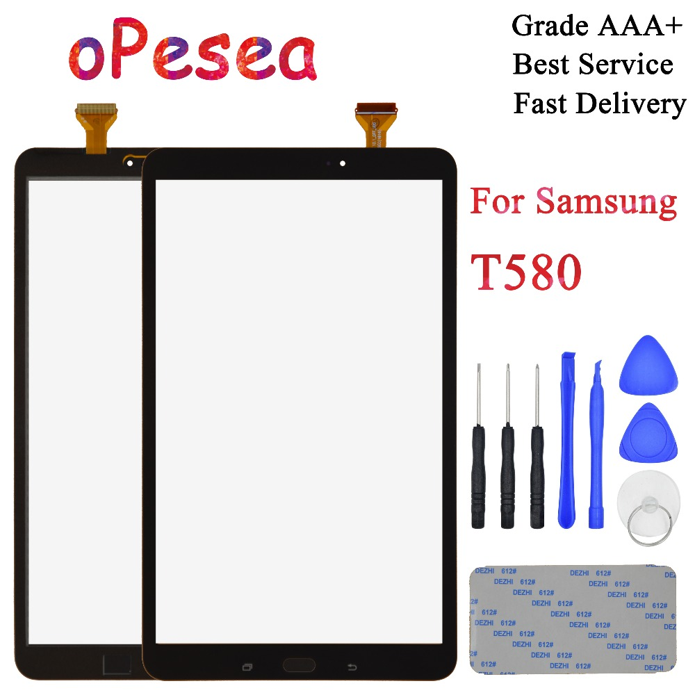 OPesea 10.1'' For Samsung Galaxy Tab A 10.1 T580 T585 SM-T580 SM-T585 Touch Screen Digitizer Front Panel Sensor Glass