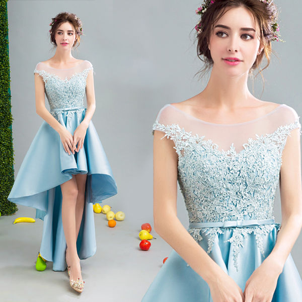 Free shipping sky blue short front long back sweat lady girl women princess  bridesmaid banquet party party dress gown 8b4123df6904