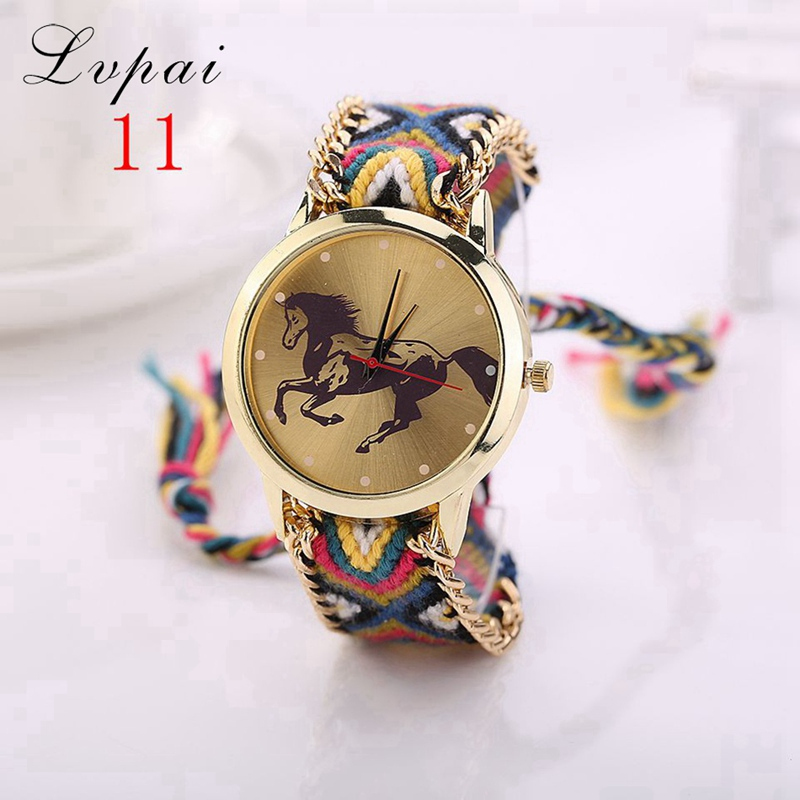Lvpai Brand Women Fashion Luxury Watch Handmade Braided Gold Wristwatch Casual Cartoon Horse Chinese Style Quartz Watch LS024 lvpai p411 women trend print casual quartz watch