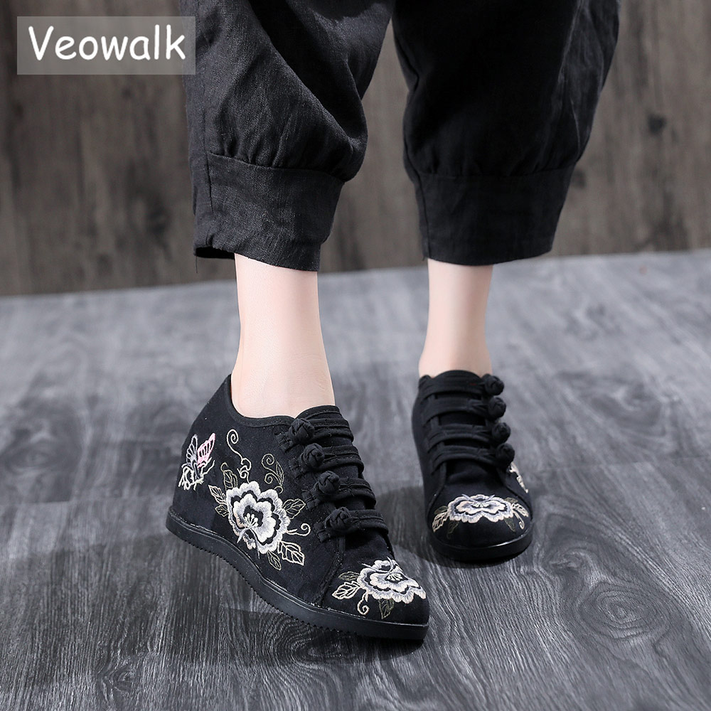Veowalk New 6cm Hidden Platform Women Embroidered Canvas Sneakers Low Top Ladies Casual Cotton Embroidery Comfort Creepers Shoes