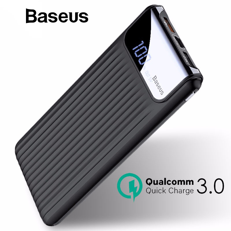 Baseus 10000 mAh LCD de carga rápida 3,0 Dual USB banco de potencia para iPhone 7 6X8 Samsung S9 S8 xiaomi banco de energía cargador de batería QC3.0