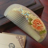 Natural Yak Horn Comb Health Massage Peony Anti staticSmall White Horn Comb