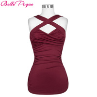 Belle Poque Summer Tops 2017 Top Sexy Femme T Shirts Fitness Tank Top Cami Cross Front