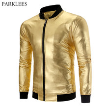 Mens Gold Metallic Varsity Jackets Coats Chaqueta Hombre 2019 Nightclub  Party Stage Leather Baseball Jacket Male Tin Man Costume cafcd0846173