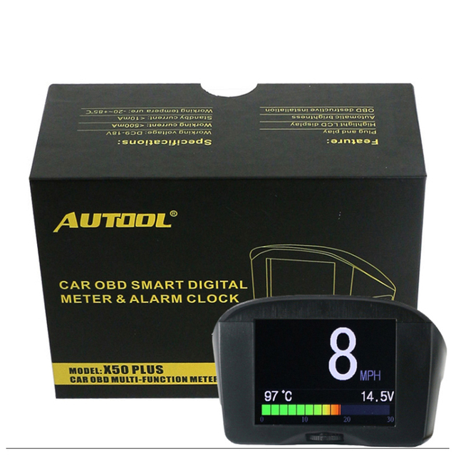 AUTOOL X50 Plus TPMS Smart AUto Car  OBD HUD Multi-Function Meter & Car Alarm Fault Code Speed Water Temperature Display AUTOOL