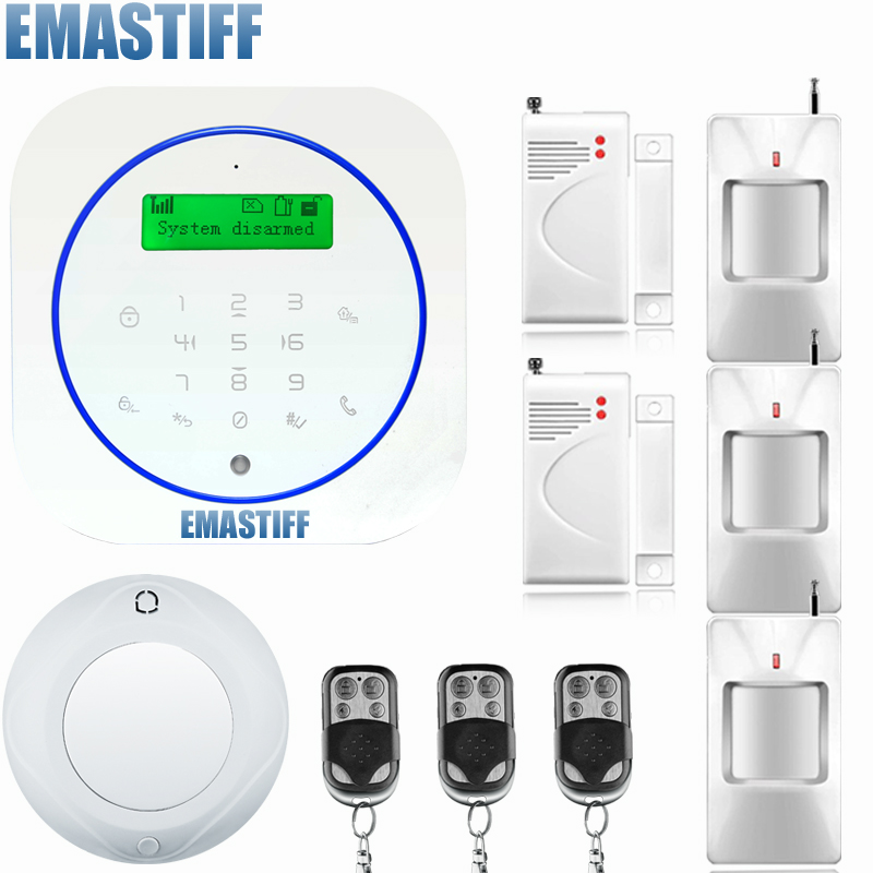 Voice prompt Wireless/Wired SMS GSM Alarm System Home auto security Systems with PIR/Door Alarm Sensor control device kit цена и фото