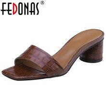 FEDONAS Brand Design Square Toe Round Heels Concise Women Sandals Solid Genuine