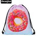 Deanfun 2016 эсколар рюкзак 3D печать путешествия softback мужчина женщины mochila feminina drawstring сумка рюкзак розовый пончик