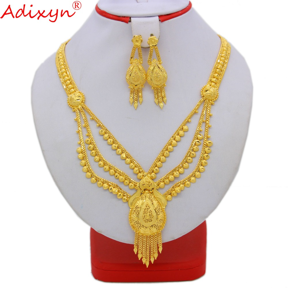 Adixyn New Dubai Long Necklace&Earrings Jewelry Set for Women Gold Color African/Arab/Middle East Wedding/Party Gifts N091611 adixyn dubai gold bangles fashion jewelry for women men gold color bangles bracelets african india middle east items free box