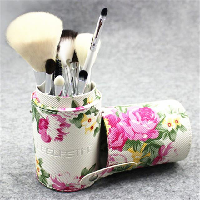 12 Unids Profesional Kit Del Cepillo Del Maquillaje Con Rosa Con Dibujos Caja Cilíndrica de Hoja Verde