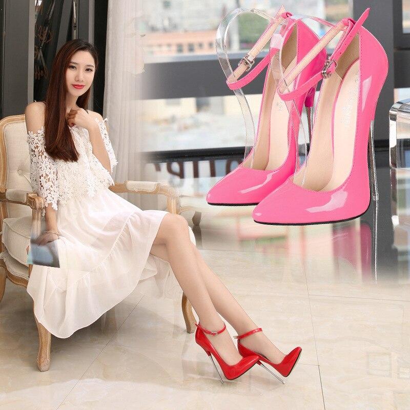 Mode chaussures 2019 femmes talons hauts pompes rouge noir en cuir fête mariage chaussures Stiletto Sexy argent talons 16 cm dames chaussures 43