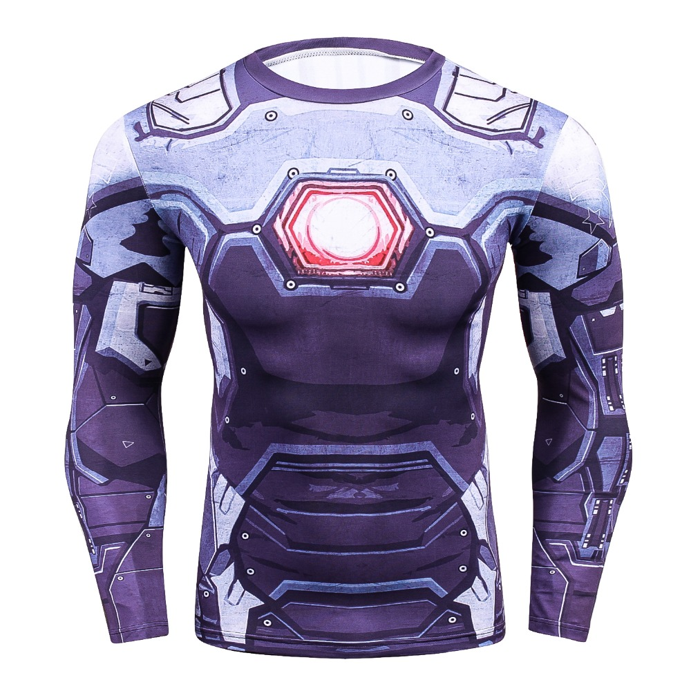 Ironman 3D druck Kompression Shirt Crossfit Hemd Fitness herren Langarm Strumpfhosen Bodybuilding T-Shirt Tops Marke Kleidung