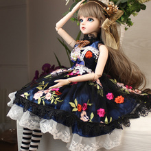 Christmas Gift Black Lace Dress 60cm BJD Baby Girl Dolls Toy Long Hair Costume Makeup Doll free shipment royal princess 1 4 18 bjd sd girl long implanted hair dolls baby american girl bjd doll with dress and shoes