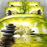 Royal Linen Source 4 PCS Bamboo And Flowers Bed Cover Set Twill 3d Print Duvet Cover