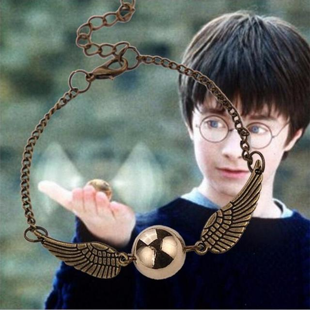 Fashion Harry Potter Quidditch Golden Snitch Bracelets for Women and Men Cute Ball Wings Chain Bracelets Nice Gifts