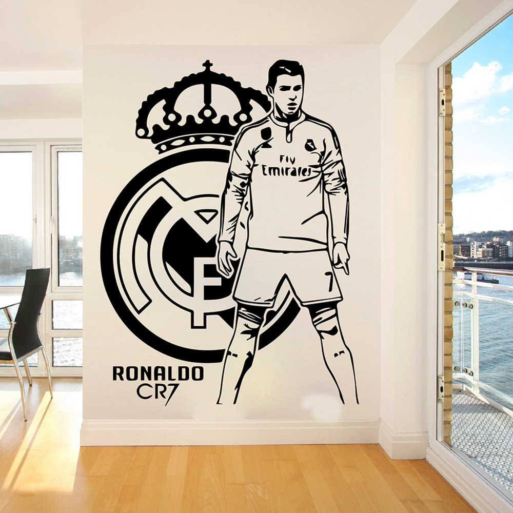 Detail feedback questions about cristiano ronaldo football players wall sticker kids room bedroom madrid football player wall decal living room vinyl home