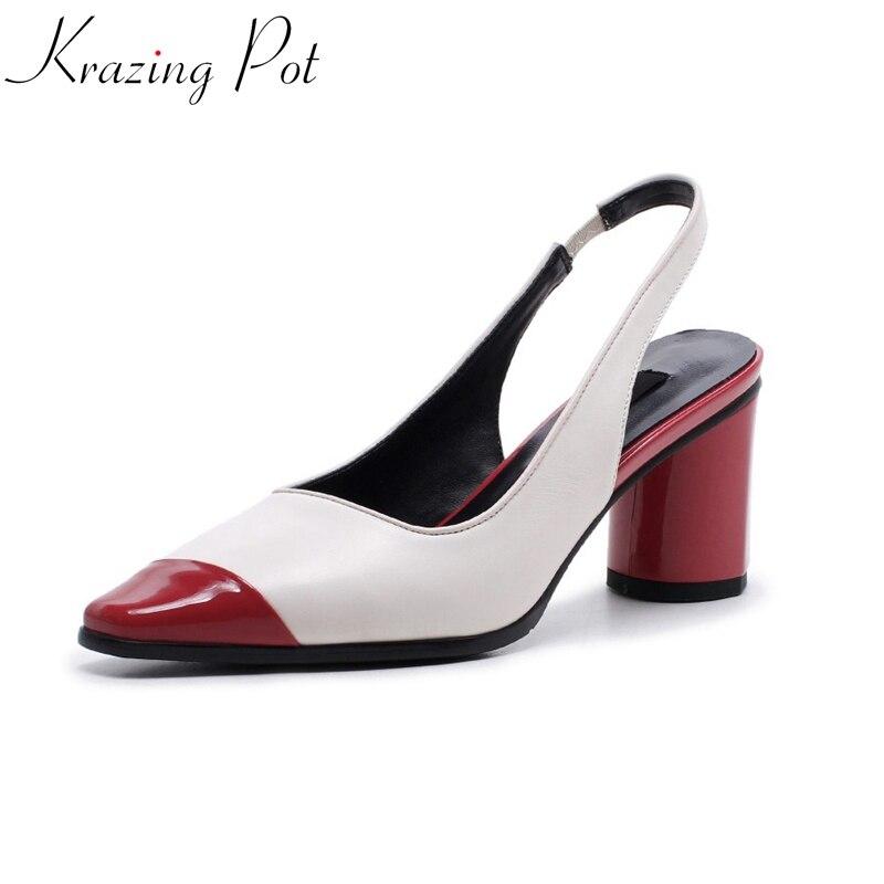 2018 Krazing pot marque printemps été chaussures en cuir véritable couleurs mélangées hollywood star office lady slingback femmes pompes L18