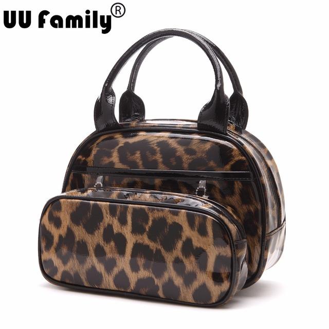 UU Familia 2016 Bolsas de Bolsas de Cosméticos Set Leopard Bolsas Mujeres Niñas Washiing 2 en 1 Bolsas para Mujeres Femme de Marca Brillante Mano Ba