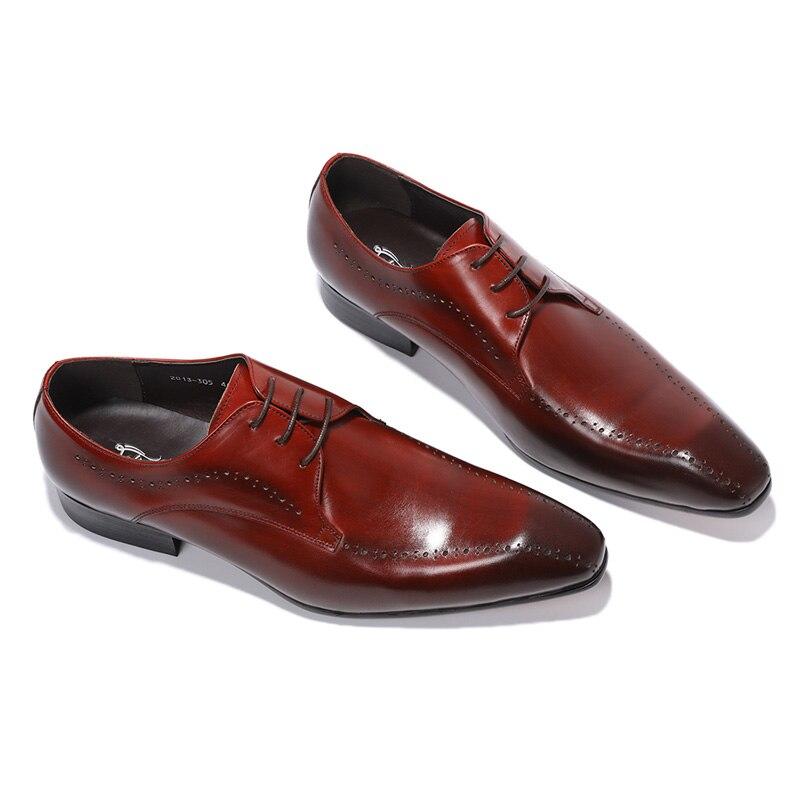 Derby de luxe en cuir véritable chaussures hommes bout pointu à lacets chaussures habillées élégantes chaussures Oxfords confortables taille 39 46-in Chaussures d'affaires from Chaussures    2