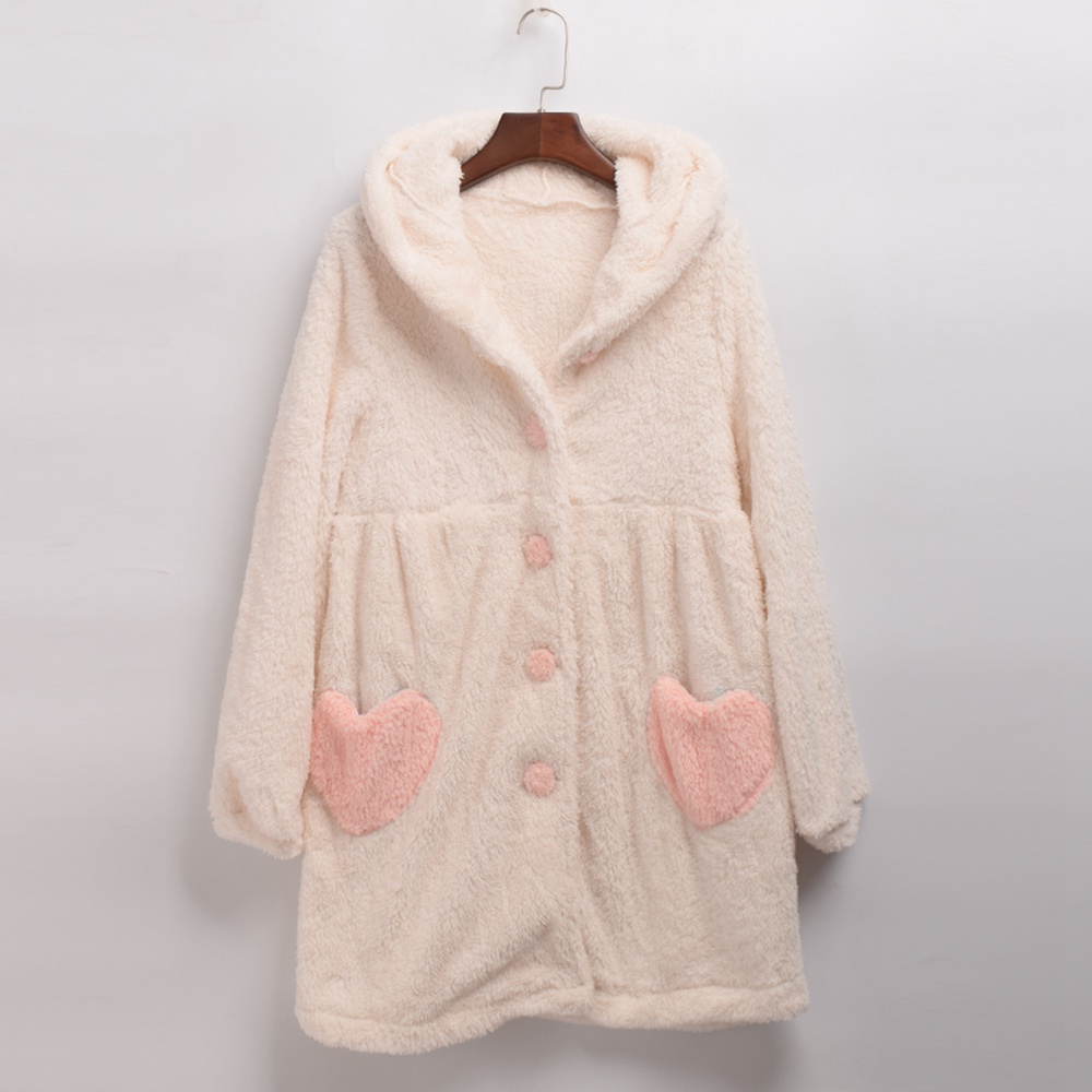 Women Sweet Rabbit Ears Homewear Heart Pocket Soft Fleece Robe Winter Sleep Dress Kawaii Nightgown Pink/White