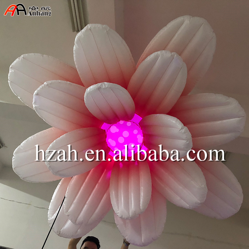 Giant Pink Ceiling Inflatable Flower With Colorful Light For Wedding Party Decor