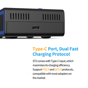 Image 5 - Xtar ST2 急速充電器 30 最小フル充電タイプ c usb 充電器 QC3.0 PD45II アダプタ壁充電 20700 21700 18650 バッテリー充電器