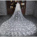 Appliqued Bridal Veils 3 Meter Ivory Cathedral Wedding Veils Long Bride Mantilla Wedding Veil