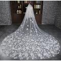 Appliqued Bridal Veils 3 Meter Ivory Cathedral Wedding Veils Long Bride Mantilla Wedding Veil
