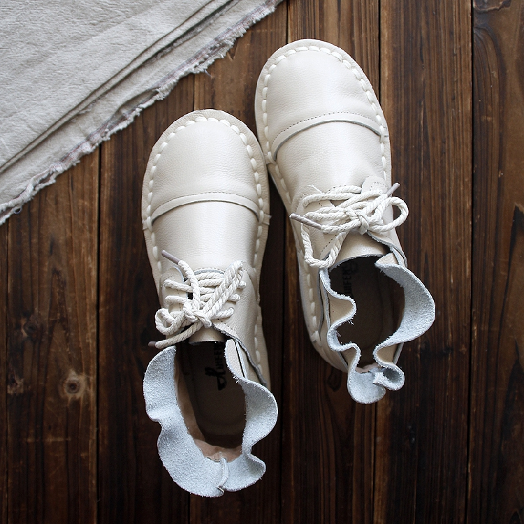 HUIFENGAZURRCS zapatos de cuero genuino, botas puras hechas a mano, zapatos de chica mori de arte retro, botas laterales de hoja de loto dulce de moda-in Botas hasta el tobillo from zapatos    1