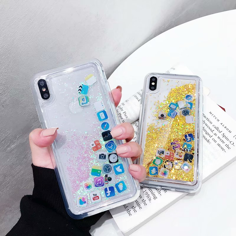 Quicksand Capinha For iPhone XR XS Max Dynamic Liquid Hard PC Case Cover For iPhone Xs Max XR