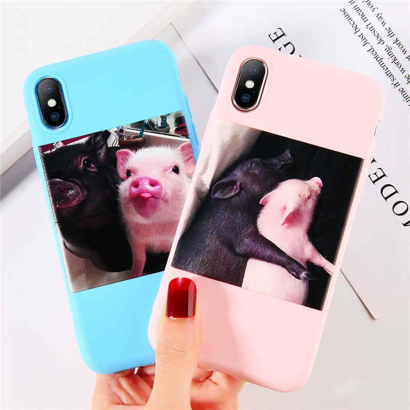 Lovebay Silicone Cochon Mignon Pour iPhone 11 Pro X XR XS Max 6 6s 7 8 Plus 5 5s SE Étuis de Téléphone TPU Couverture Arrière Pour iPhone 7